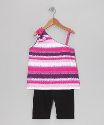Pink Stripe Tank & Bike Shorts - Girls