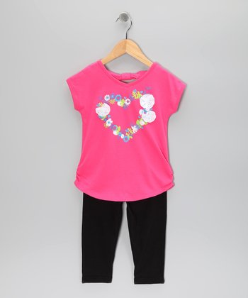 Hot Pink Heart Tunic & Leggings - Girls