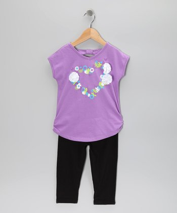 Purple Heart Tunic & Leggings - Girls