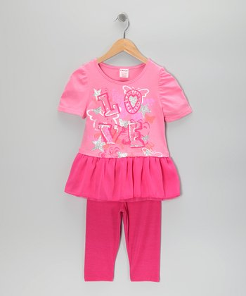 Hot Pink Bicycle Girl Tunic & Leggings - Girls