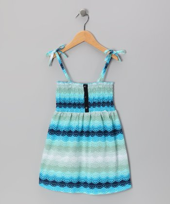 Blue Scallop Smocked Dress - Toddler & Girls