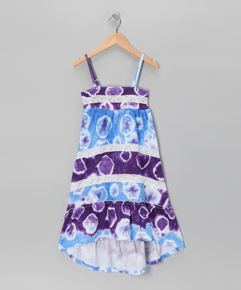 Blue Tie-Dye Dress - Girls