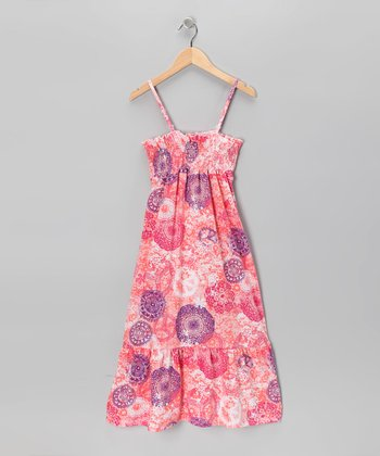 Peach Peace Sign Dress - Girls