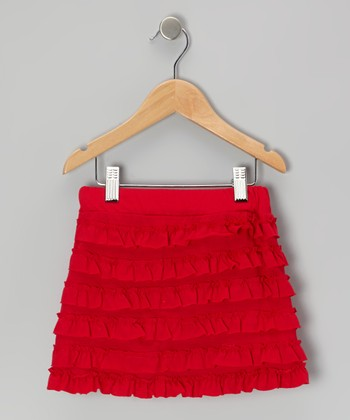 Red Ruffle Skirt - Girls