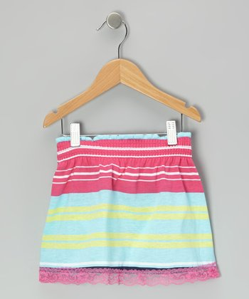 Pink & Blue Stripe Skirt
