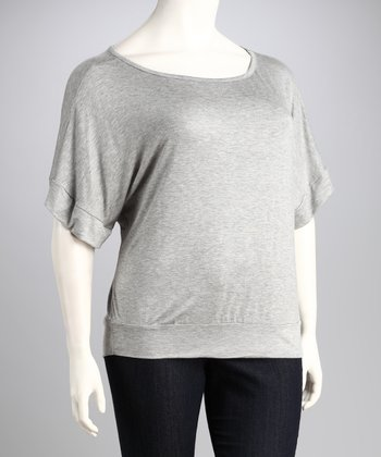 Heather Gray Dolman Boatneck Top - Plus