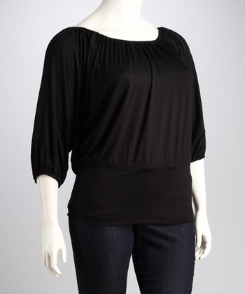 Black Banded Plus-Size Top