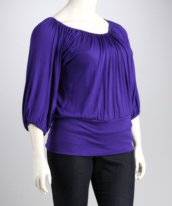Purple Banded Plus-Size Top