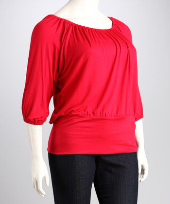 Red Banded Plus-Size Top