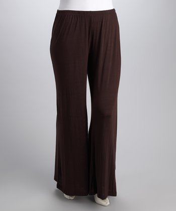 Brown Wide-Leg Pants - Plus