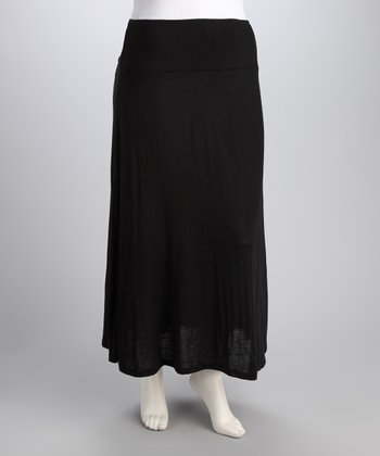 Black Banded Plus-Size Maxi Skirt