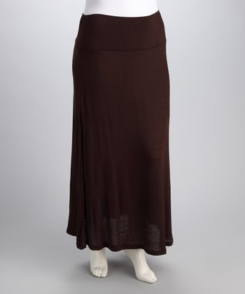 Brown Banded Skirt - Plus