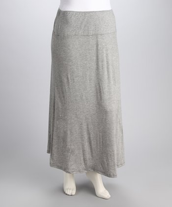 Heather Gray Banded Plus-Size Maxi Skirt
