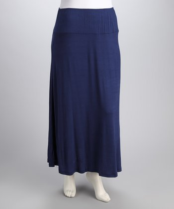 Navy Banded Plus-Size Maxi Skirt