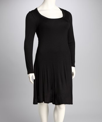 Black Plus-Size Long-Sleeve Dress