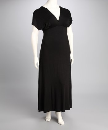 Black Plus-Size Surplice Maxi Dress