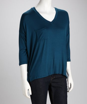 Teal V-Neck Top - Women