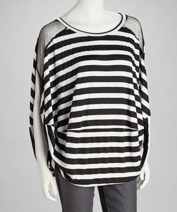Black & White Stripe Mesh Top