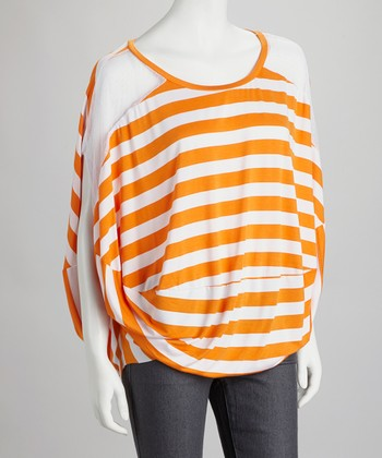 Orange & White Stripe Mesh Top