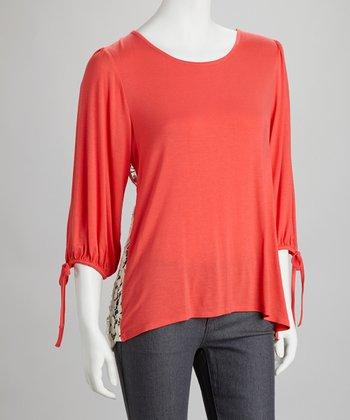 Coral & White Lace-Back Top