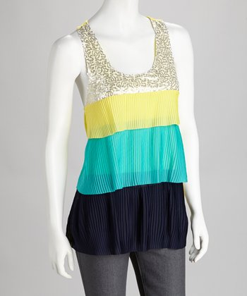 Yellow Color Block Racerback Tank