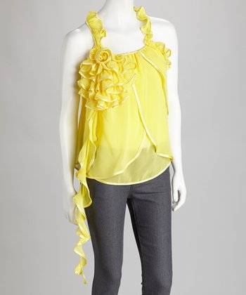 Yellow Ruffle Tank