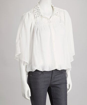 White Rhinestone Button-Up Top