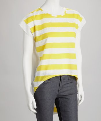 Yellow & White Stripe-Front Hi-Low Top