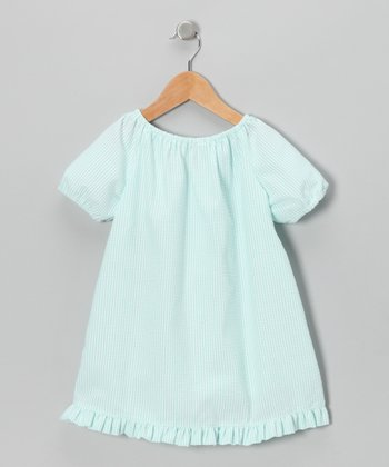Aqua Seersucker Peasant Dress - Infant, Toddler & Girls