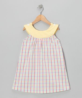 Yellow & Red Plaid Yoke Dress - Infant, Toddler & Girls