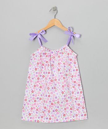 Lavender Floral Seersucker Ribbon Dress - Toddler & Girls