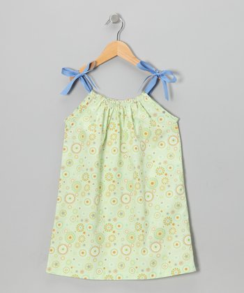 Green & Blue Swirl Ribbon Dress - Toddler & Girls