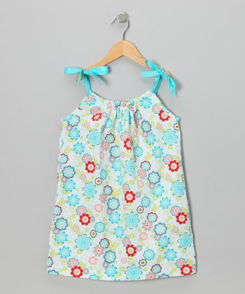 Aqua & Red Floral Ribbon Dress - Toddler & Girls