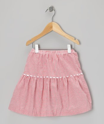 Red Gingham Seersucker Skirt - Infant, Toddler & Girls