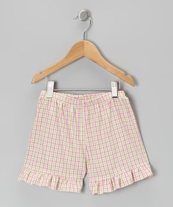 Pink & Lime Plaid Ruffle Shorts - Infant, Toddler & Girls
