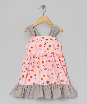 Pink & Brown Floral Gingham Ruffle Dress - Infant, Toddler & Girls