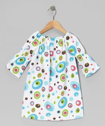 White & Blue Circle Peasant Dress - Infant, Toddler & Girls
