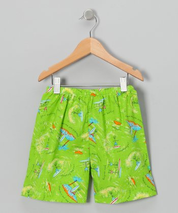 Lime Green Surfboard Shorts - Infant, Toddler & Boys