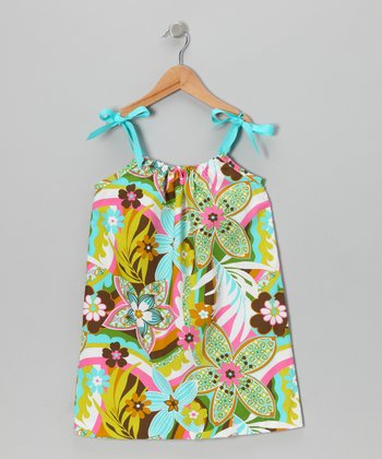 Aqua Tropical Ribbon Dress - Toddler & Girls