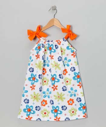 Blue & Orange Seersucker Ribbon Dress - Toddler & Girls