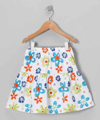 Blue & Orange Floral Seersucker Skirt - Infant, Toddler & Girls