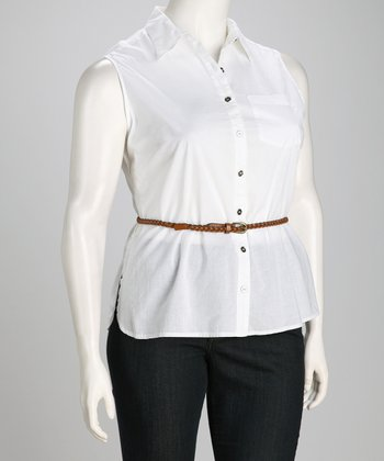 White Plus-Size Sleeveless Belted Button-Up