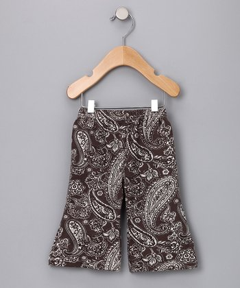 Chocolate Brown Paisley Organic Pants - Infant