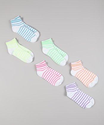 White & Neon Stripe Crew Socks Set