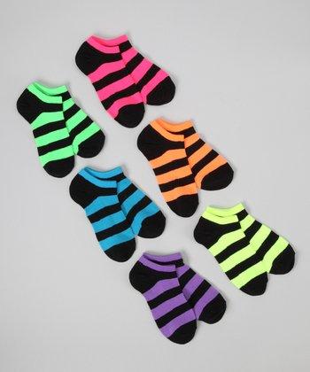 Neon & Black Stripe No-Show Sock Set