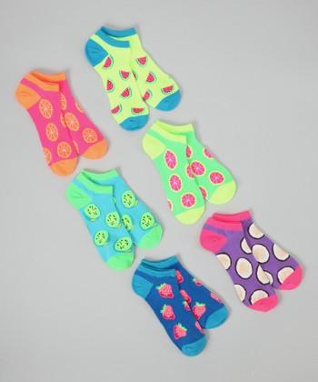 Neon Green & Orange Fruity No-Show Sock Set