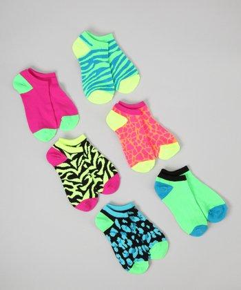 Neon Green & Blue Animal No-Show Socks Set