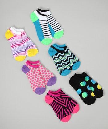 Black & Pink Geometric No-Show Sock Set