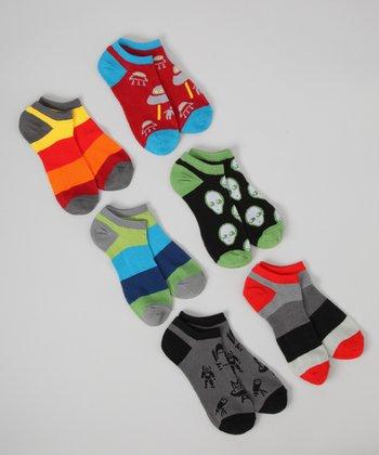 Green & Orange Space Invasion No-Show Socks Set