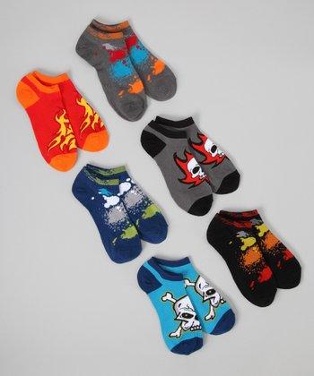 Black & Red Skull & Flame No-Show Socks Set